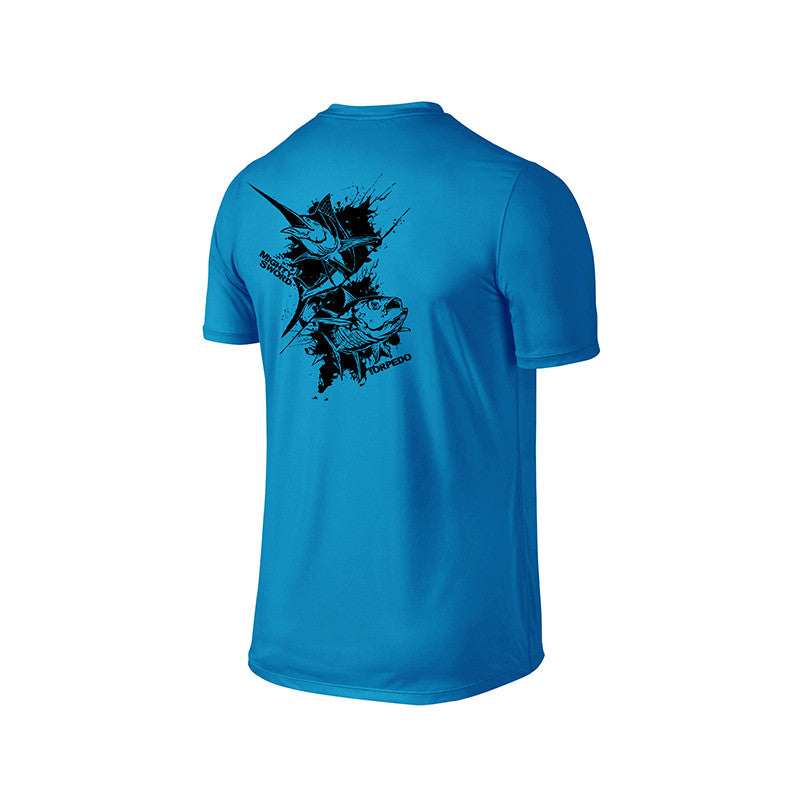 SportyFish Ink Series Turquoise T-shirt: Black Marlin and Yellowfin Tuna back view