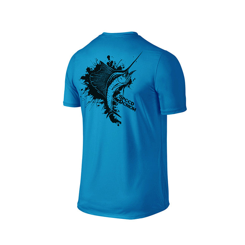 SportyFish Ink Series Turquoise T-shirt: Atlantic Sailfish back view