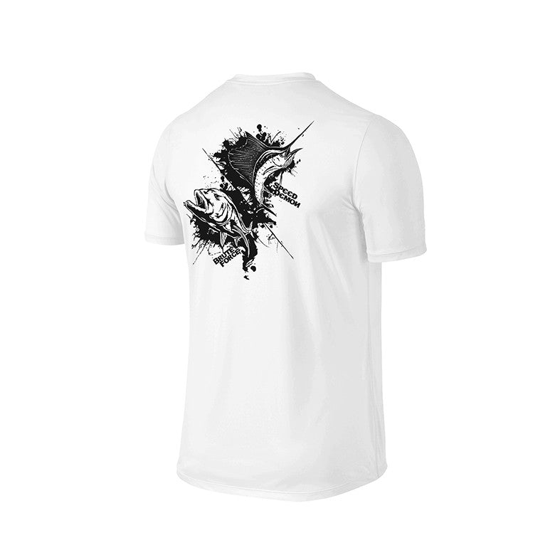 SportyFish Ink Series White T-shirt: Giant Trevally and Atlantic Sailfish back view