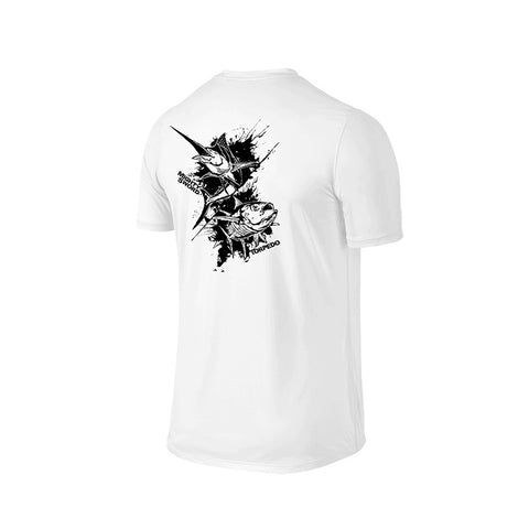 e01bfd5dbe9 SportyFish Ink Series White T-shirt  Black Marlin and Yellowfin Tuna back  view