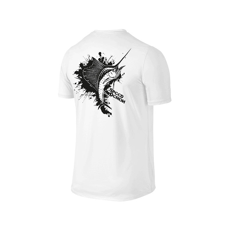 SportyFish Ink Series White T-shirt: Atlantic Sailfish back view