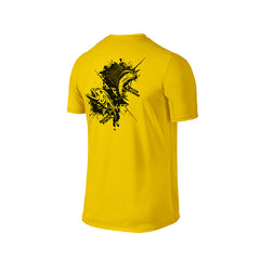 SportyFish Ink Series Yellow T-shirt: Giant Trevally and Atlantic Sailfish back view