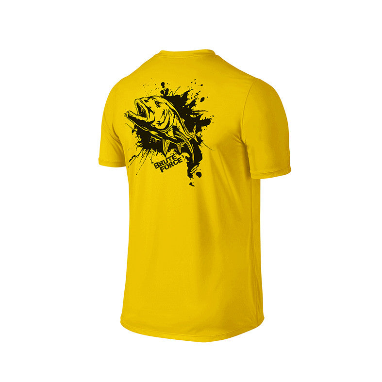 SportyFish Ink Series Yellow T-shirt: Giant Trevally back view