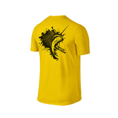 SportyFish Ink Series Yellow T-shirt: Atlantic Sailfish back view