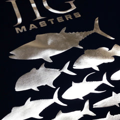 SportyFish Silhouette Series Silver print Black T-shirt: Jig Masters close-up view