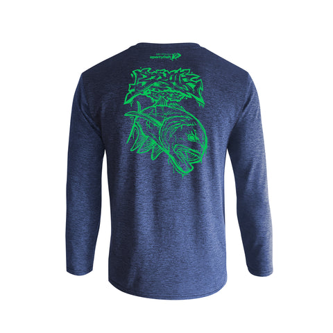 Wildstyle Graffiti Series Blue Long-sleeves T-shirt(back view)Electric Green: Giant Trevally