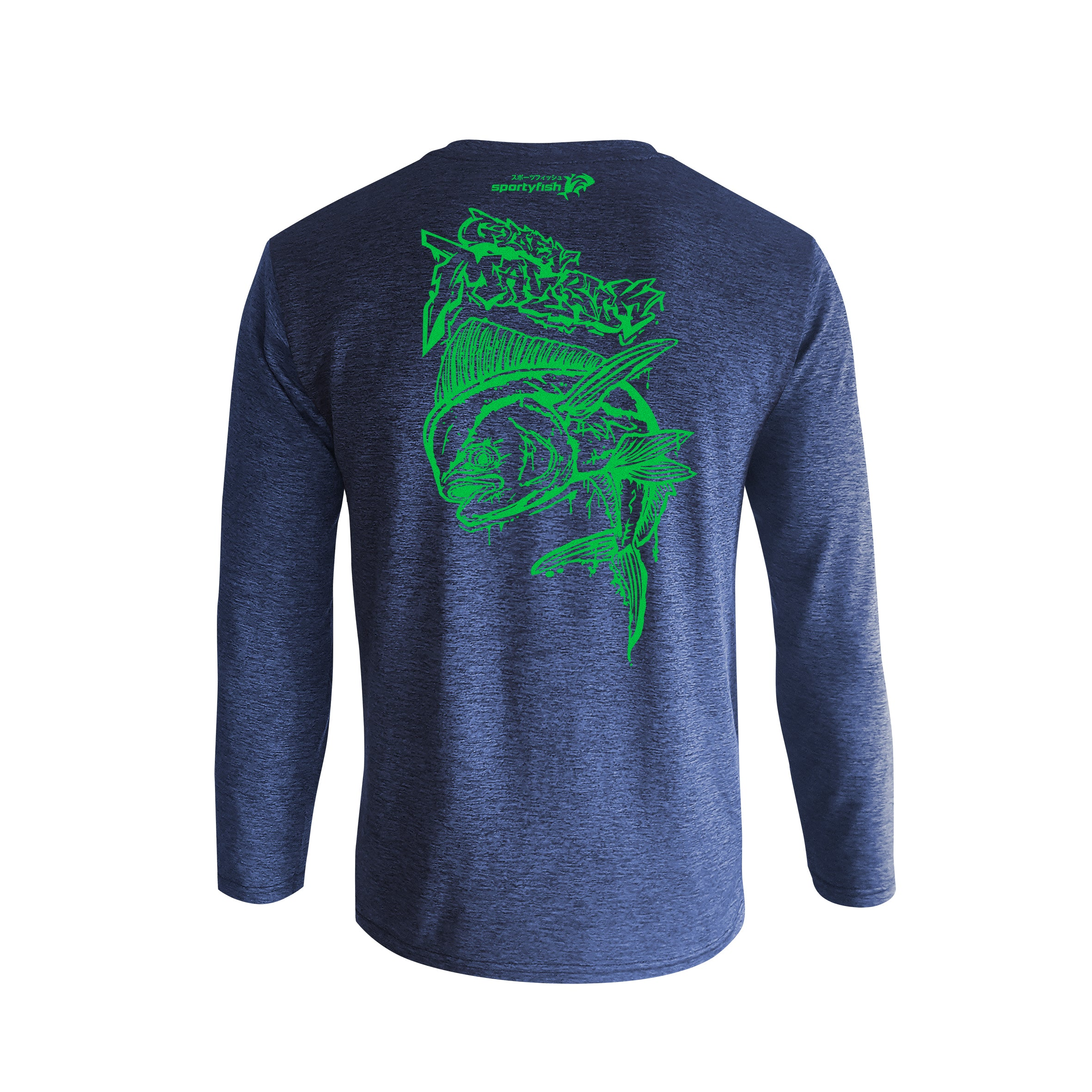 Wildstyle Graffiti Series Blue Long-sleeves T-shirt(back view)Electric Green: Mahi-mahi