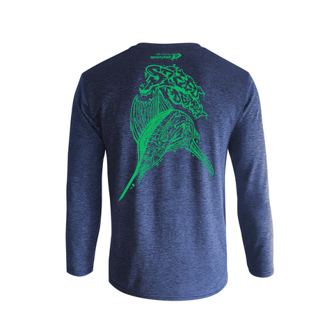 Wildstyle Graffiti Series Blue Long-sleeves T-shirt(back view)Electric Green: Atlantic Sailfish