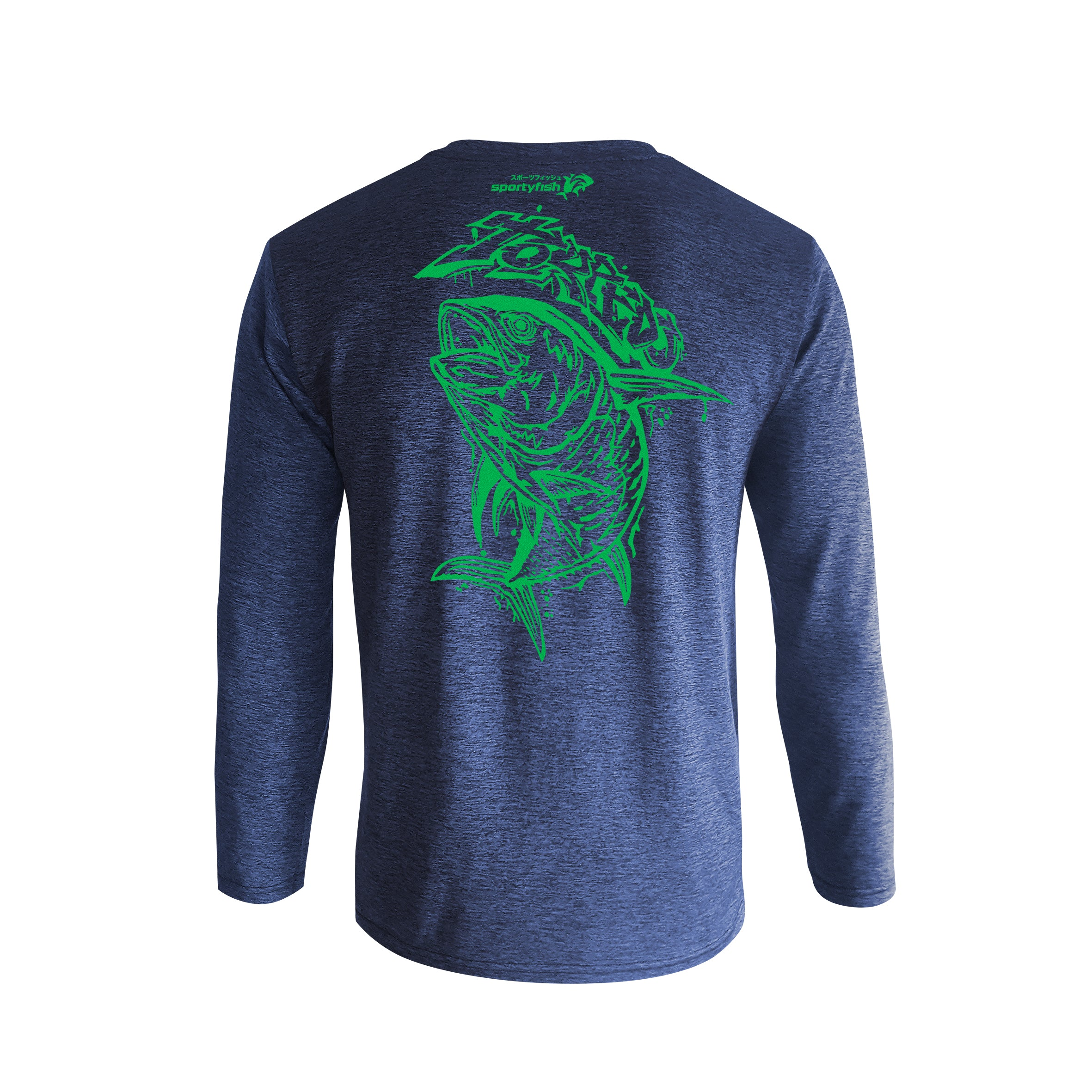 Wildstyle Graffiti Series Blue Long-sleeves T-shirt(back view)Electric Green: Yellowfin Tuna