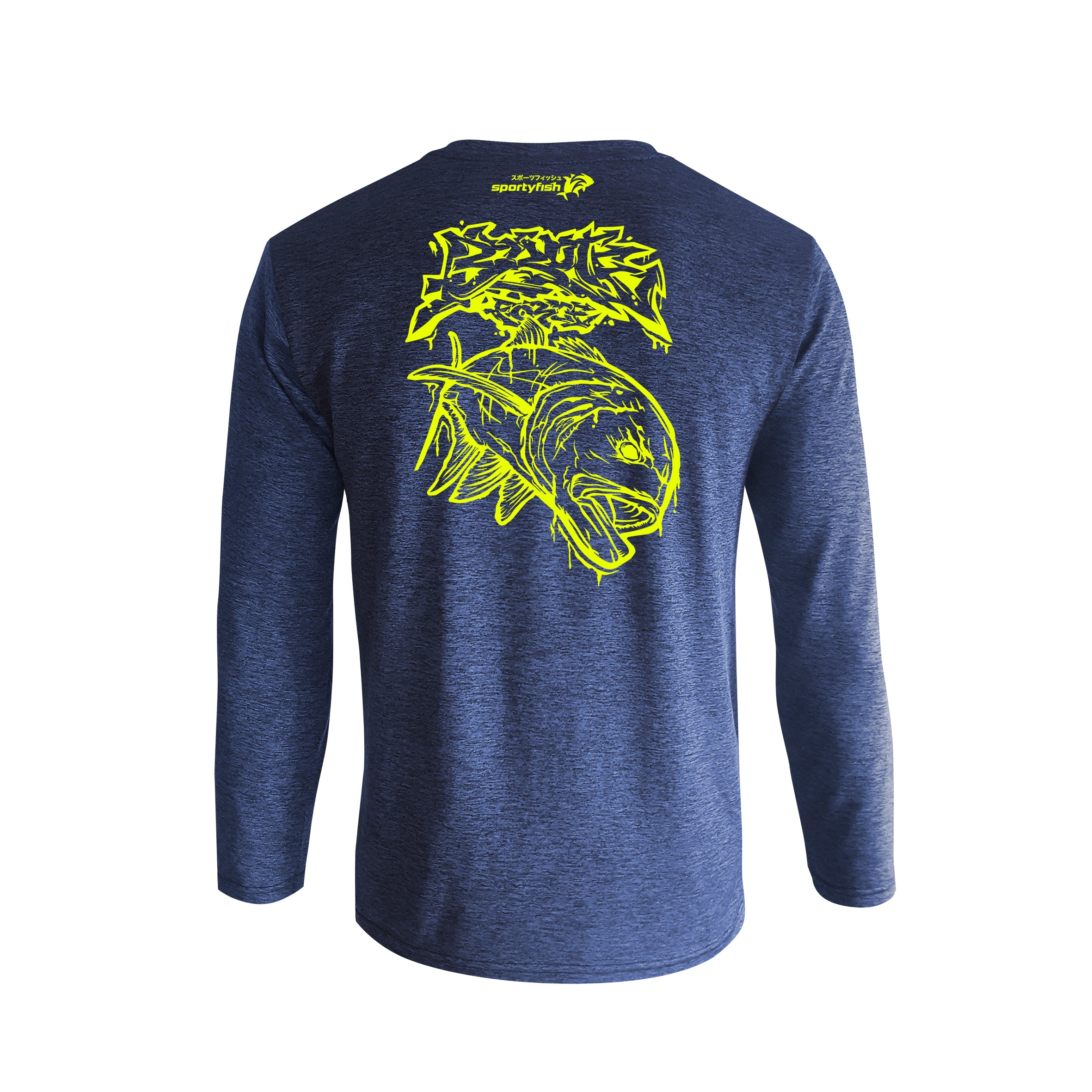Wildstyle Graffiti Series Blue Long-sleeves T-shirt(back view)Neon Yellow: Giant Trevally