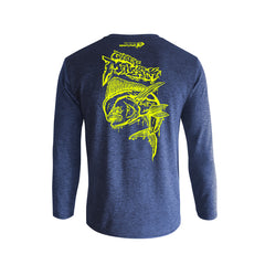 Wildstyle Graffiti Series Blue Long-sleeves T-shirt(back view)Neon Yellow: Mahi-mahi