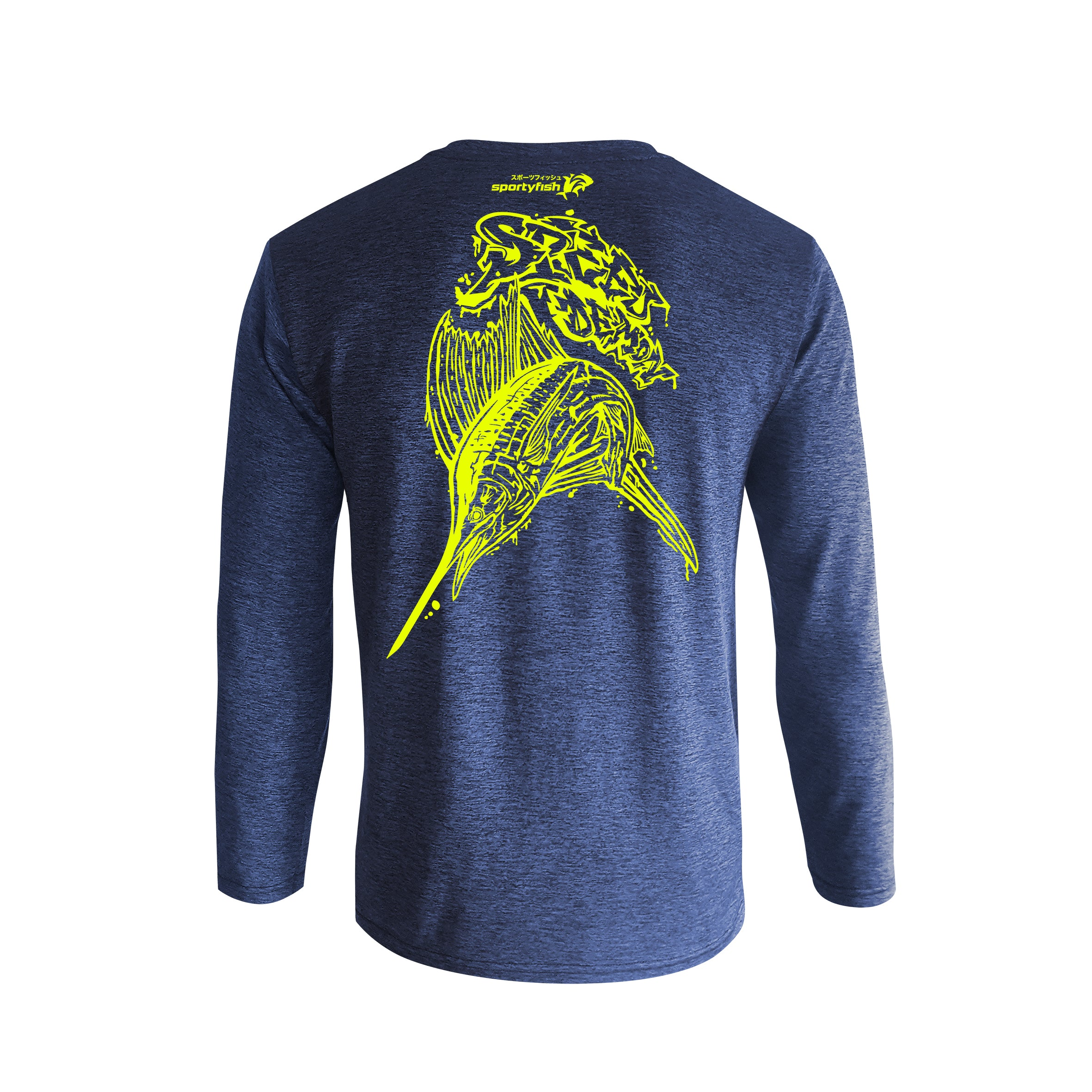 Wildstyle Graffiti Series Blue Long-sleeves T-shirt(back view)Neon Yellow: Atlantic Sailfish