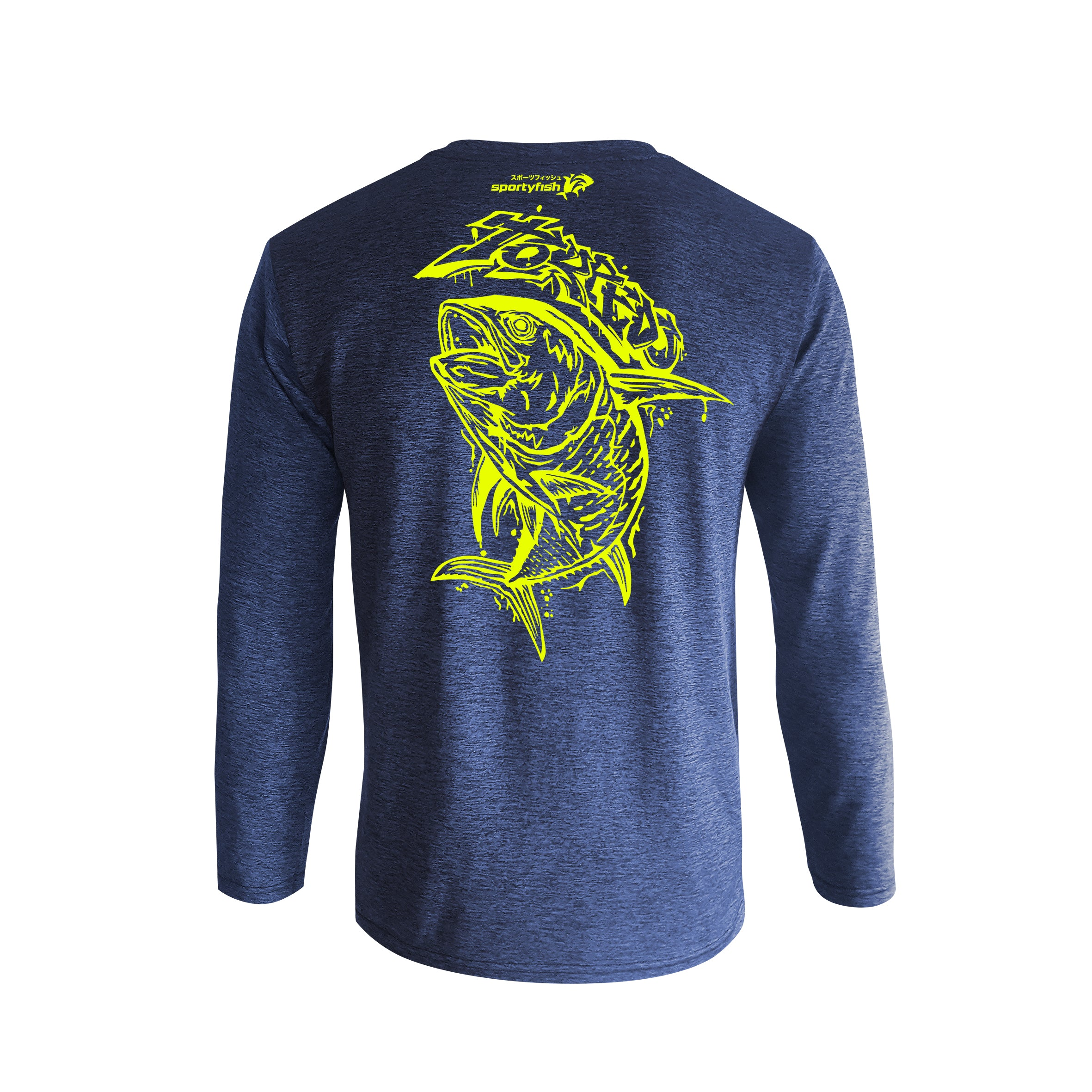 Wildstyle Graffiti Series Blue Long-sleeves T-shirt(back view)Neon Yellow: Yellowfin Tuna