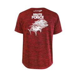 SportyFish Bold Series Red T-shirt(back view): The Giant Trevally(Brute Force)