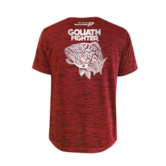 SportyFish Bold Series Red T-shirt(back view): The Grouper(Goliath Fighter)