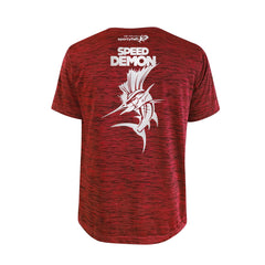 SportyFish Bold Series Red T-shirt(back view): Atlantic Sailfish(Speed Demon)