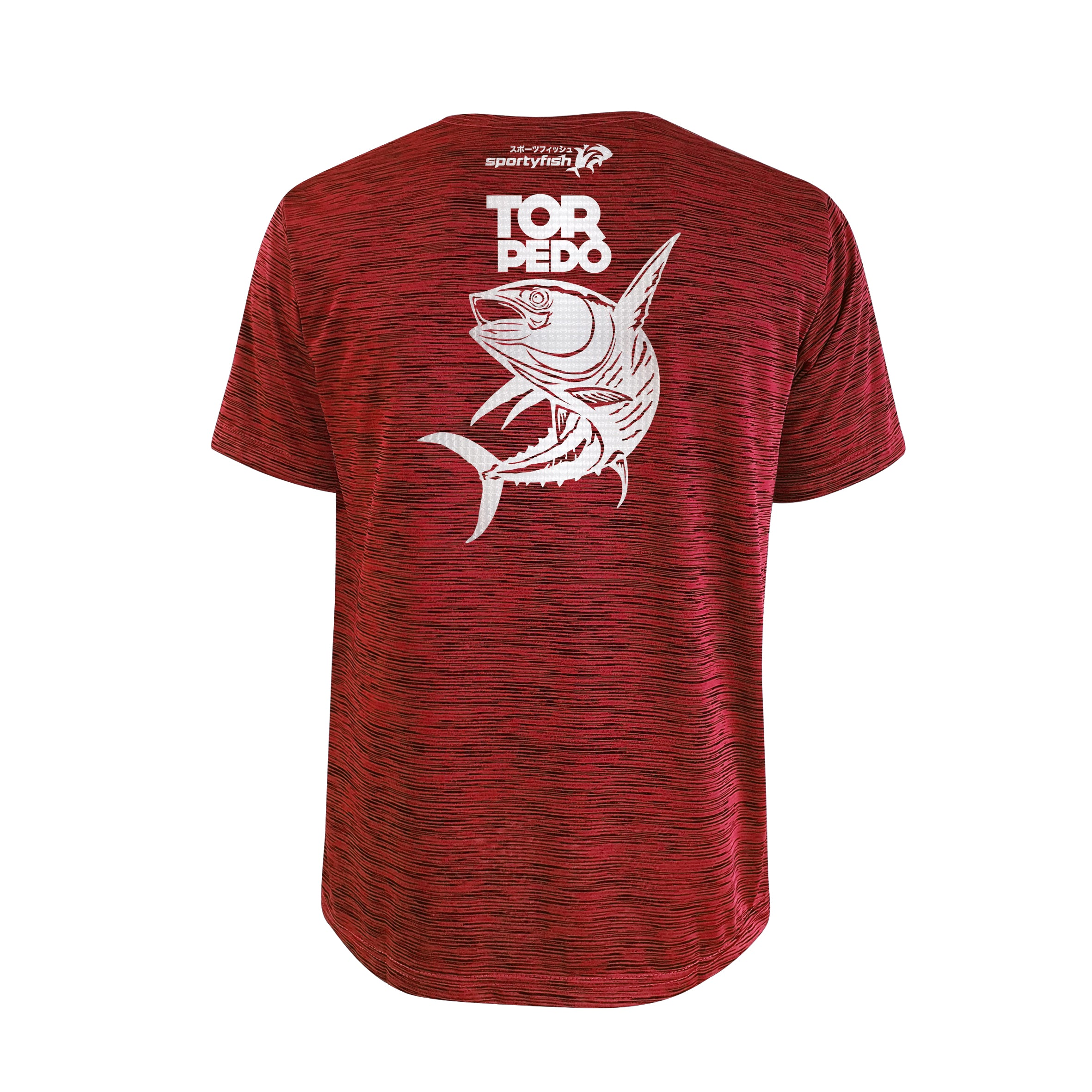 SportyFish Bold Series Red T-shirt(back view): The Yellowfin Tuna(Torpedo)