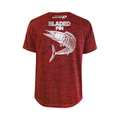 SportyFish Bold Series Red T-shirt(back view): The Wahoo(Bladed Fins)