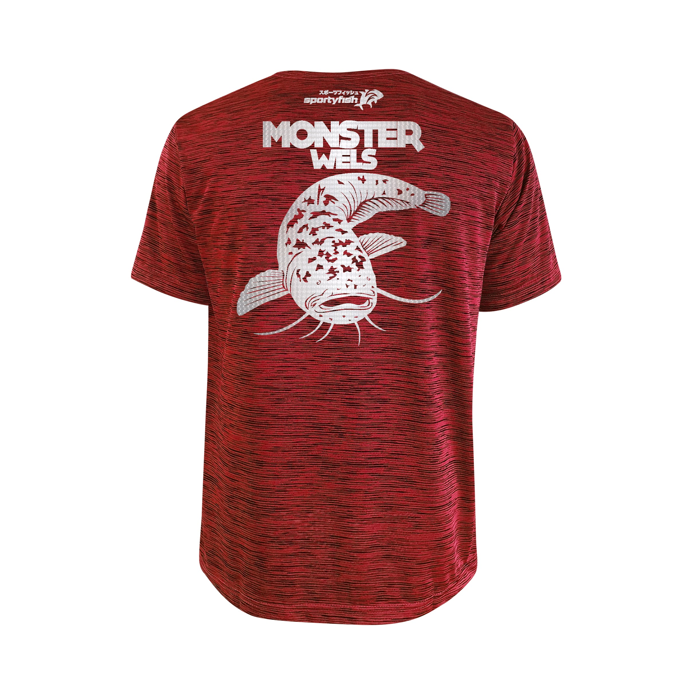 SportyFish Bold Series Red T-shirt(back view): The Wels Catfish(Monster Wels)