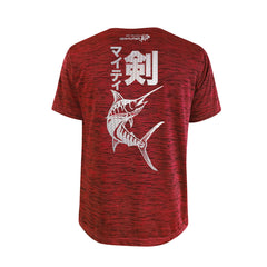 Bold Series Red T-shirt(SS): The Black Marlin(Mighty Sword)(In Japanese Words)