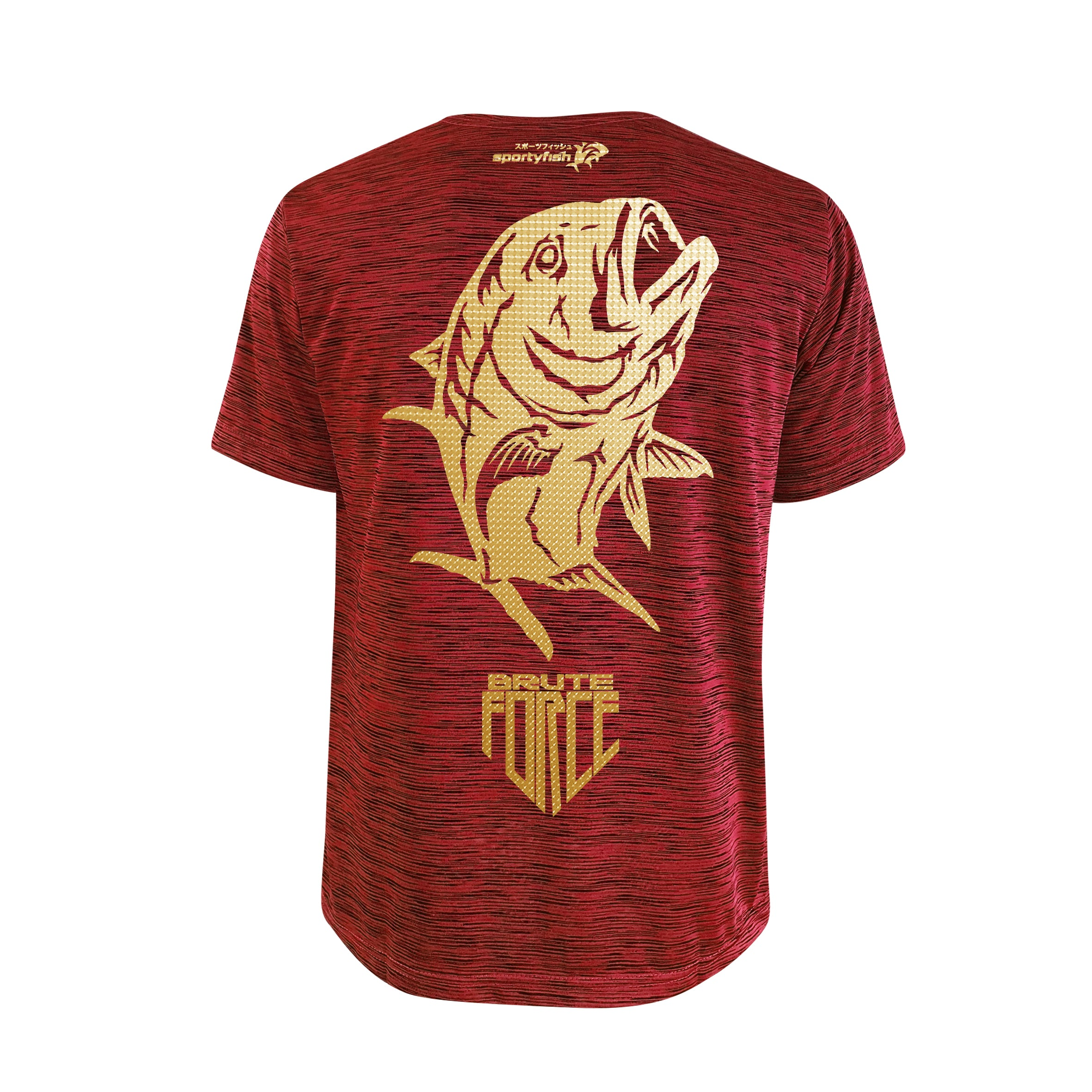 SportyFish Shield Series Red T-shirt(back view) Gold Print: Giant Trevally