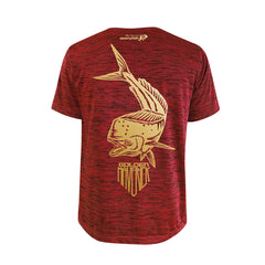 SportyFish Shield Series Red T-shirt(back view) Gold Print: Mahi Mahi