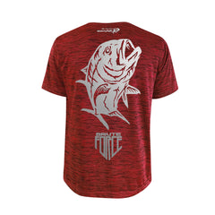 SportyFish Shield Series Red T-shirt(back view) Silver Print: Giant Trevally