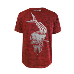 SportyFish Shield Series Red T-shirt(back view) Silver Print: Mahi Mahi