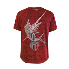SportyFish Shield Series Red T-shirt(back view) Silver Print: Atlantic Sailfish