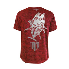 SportyFish Shield Series Red T-shirt(back view) Silver Print: Yellowfin Tuna
