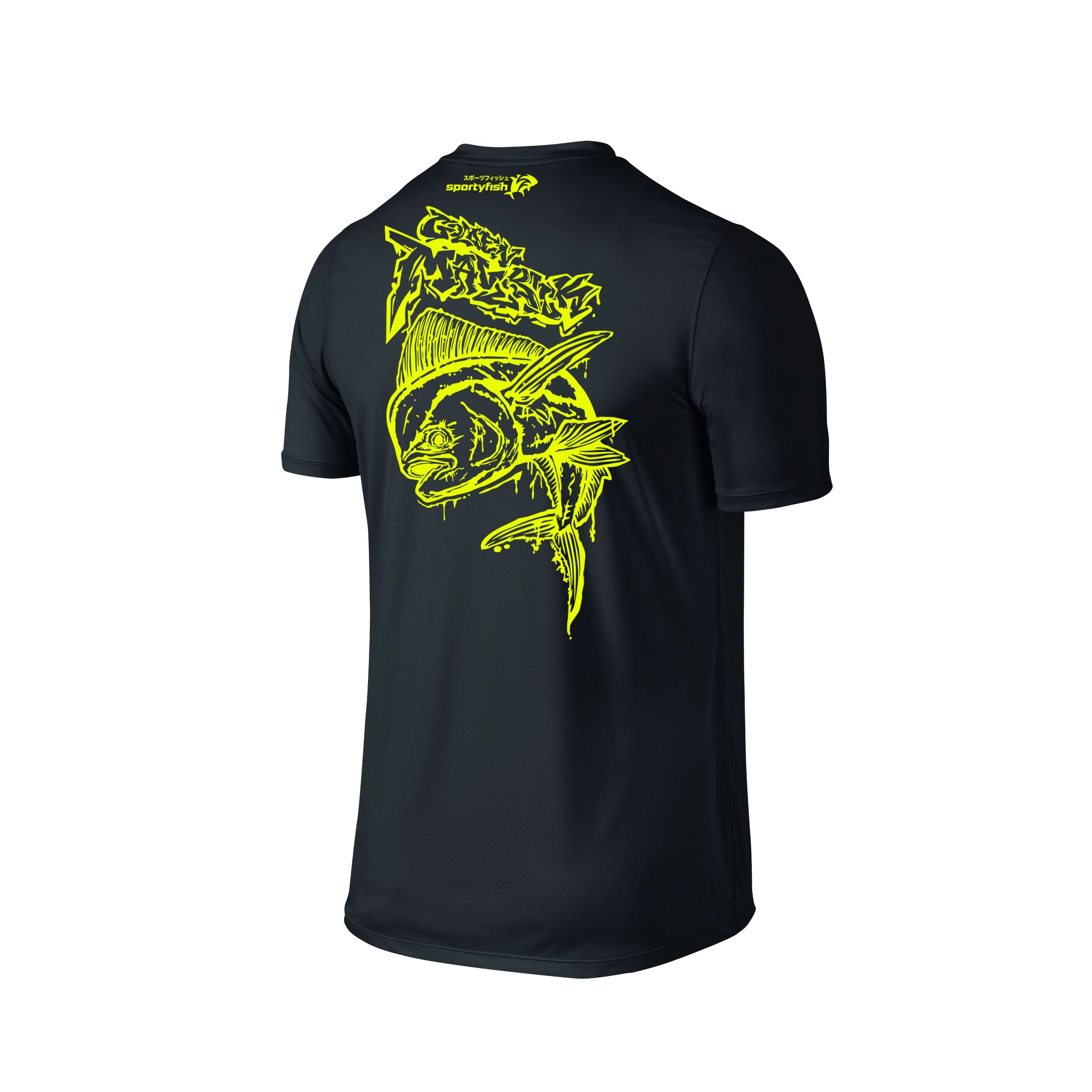 Wildstyle Graffiti Series Black T-shirt(back view)Neon Yellow: Mahi-mahi