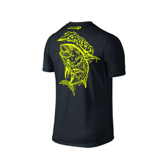 Wildstyle Graffiti Series Black T-shirt(back view)Neon Yellow: Yellowfin Tuna