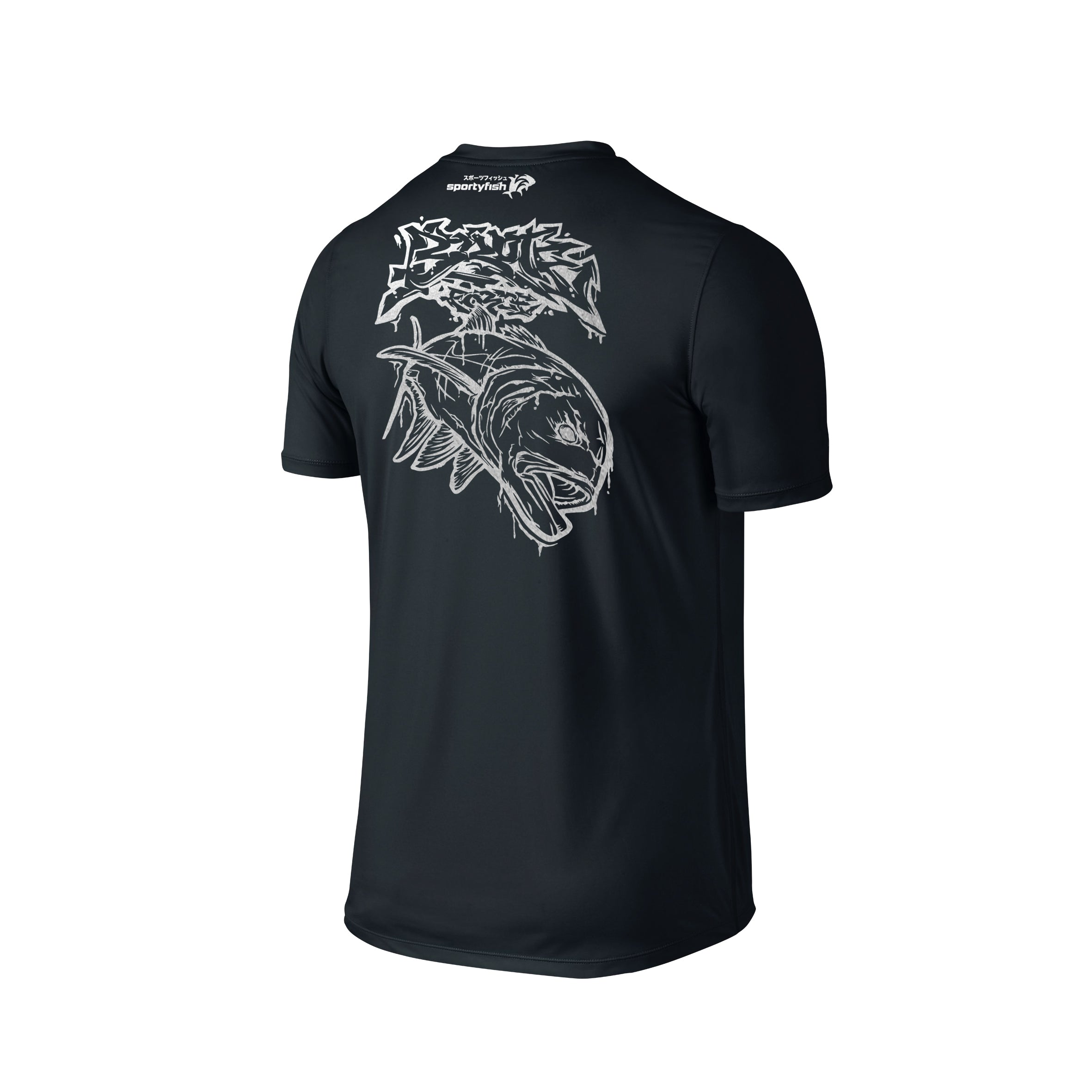 Wildstyle Graffiti Series Black T-shirt(back view)Silver: Giant Trevally