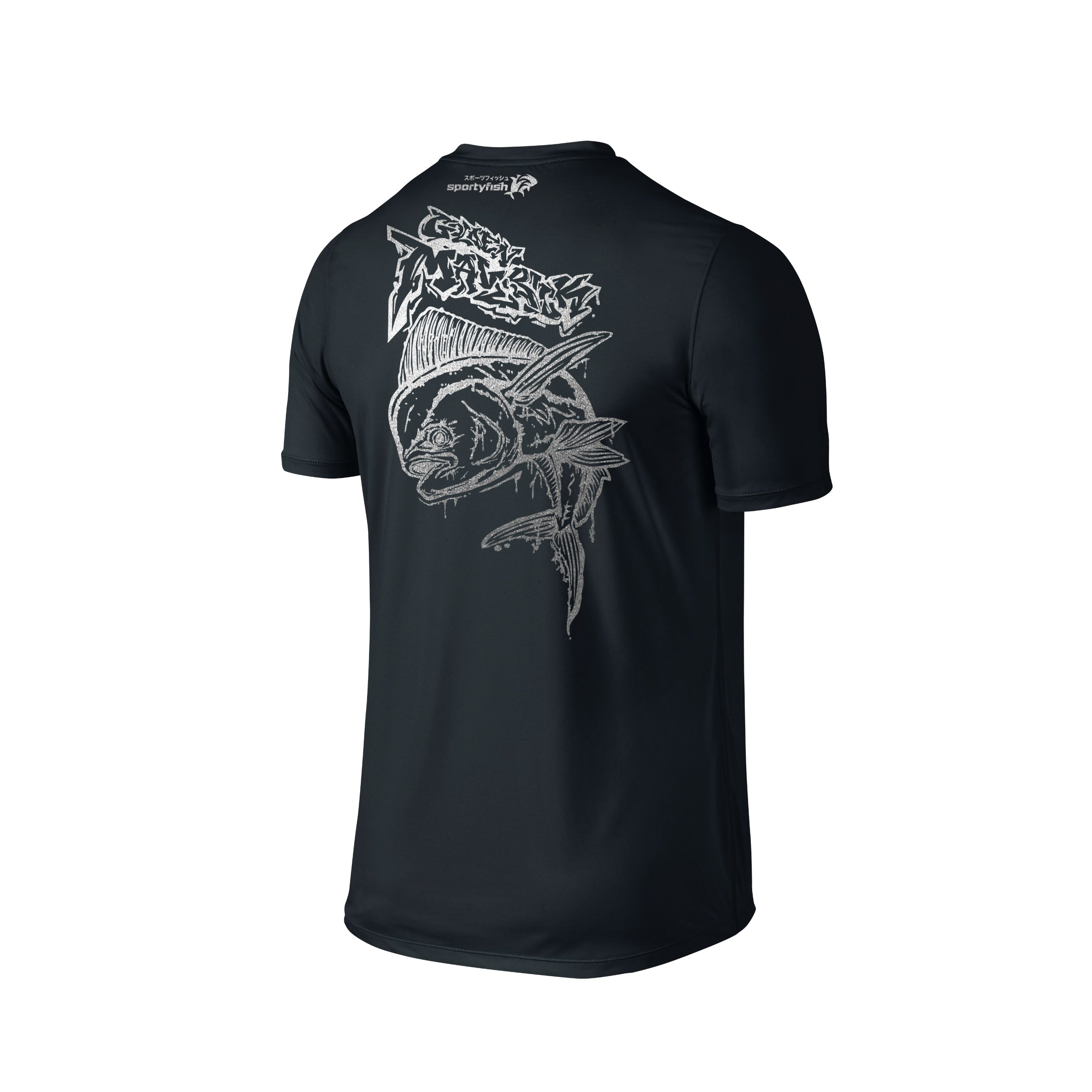 Wildstyle Graffiti Series Black T-shirt(back view)Silver: Mahi-mahi