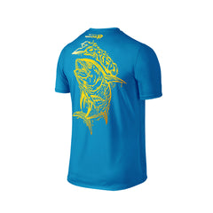 Wildstyle Graffiti Series Turquoise T-shirt(back view)Gold: Yellowfin Tuna