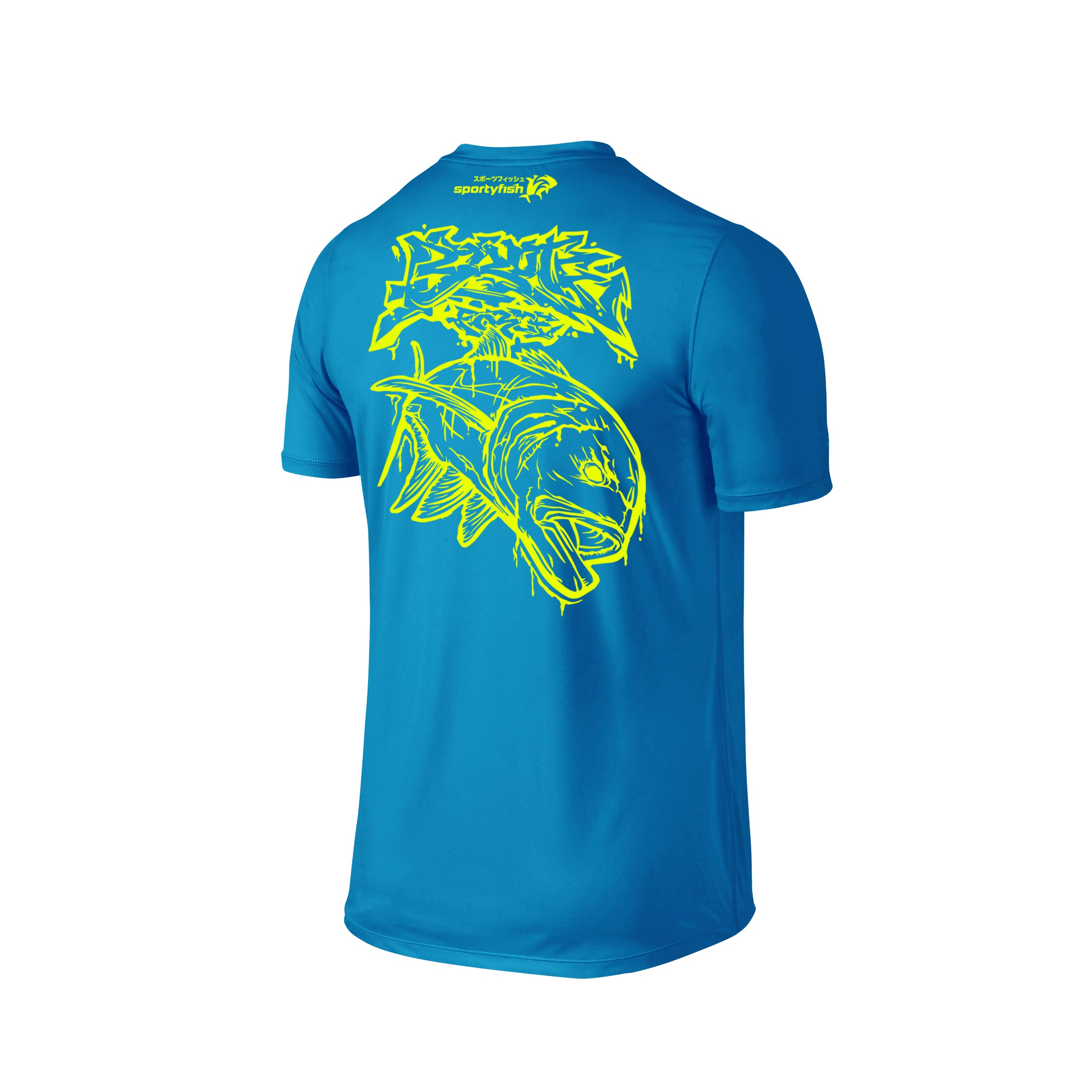 Wildstyle Graffiti Series Turquoise T-shirt(back view)Neon Yellow: Giant Trevally