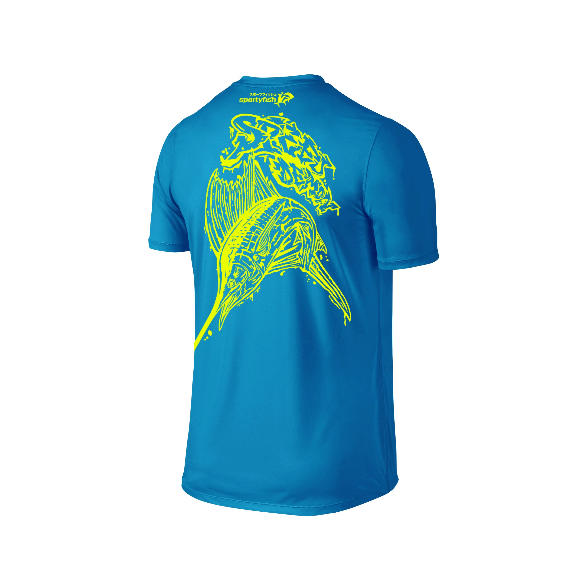 Wildstyle Graffiti Series Turquoise T-shirt(back view)Neon Yellow: Atlantic Sailfish