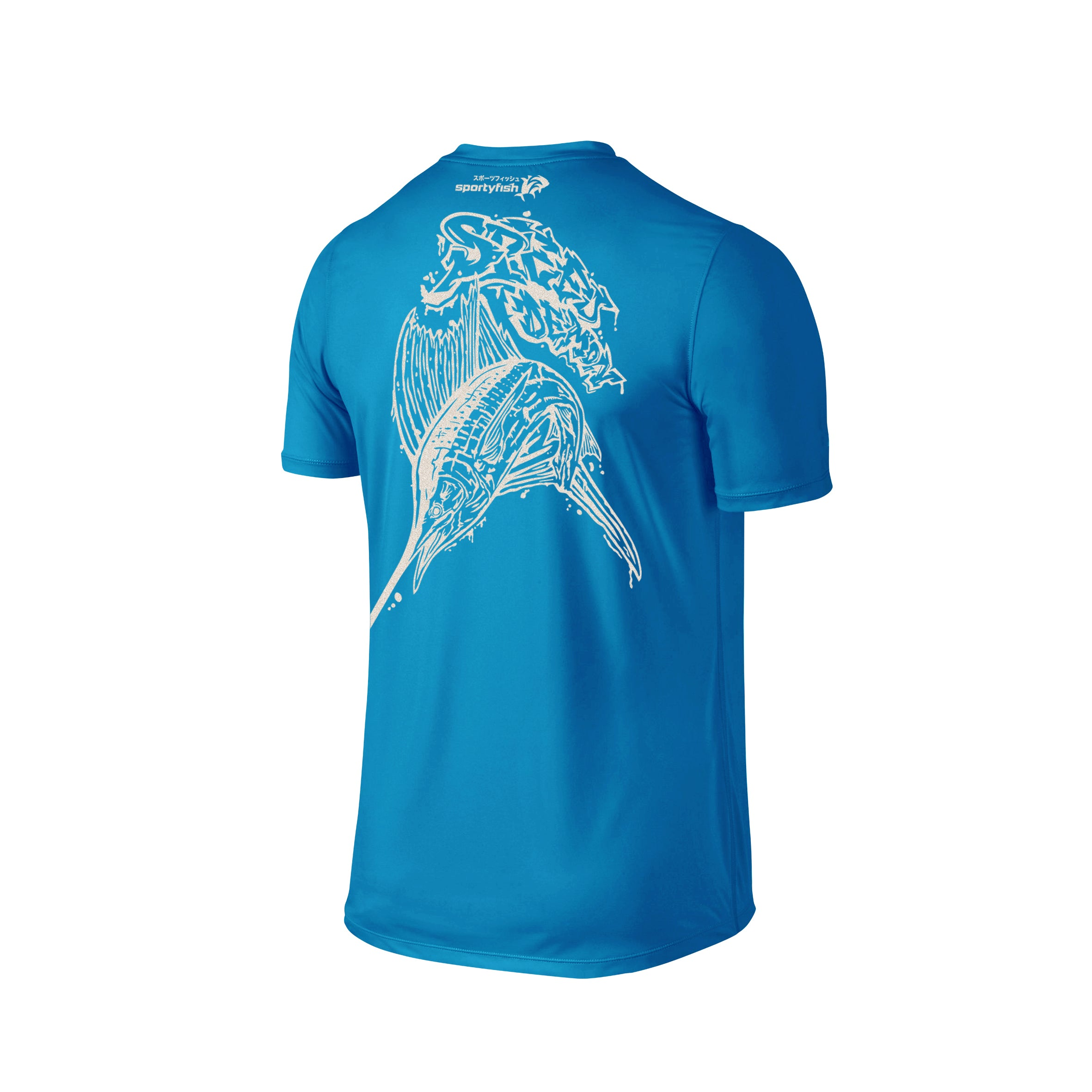 Wildstyle Graffiti Series Turquoise T-shirt(back view)Pearl White: Atlantic Sailfish