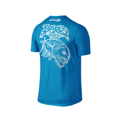 Wildstyle Graffiti Series Turquoise T-shirt(back view)Silver: Giant Trevally