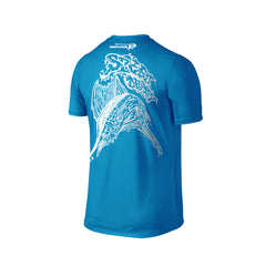 Wildstyle Graffiti Series Turquoise T-shirt(back view)Silver: Atlantic Sailfish