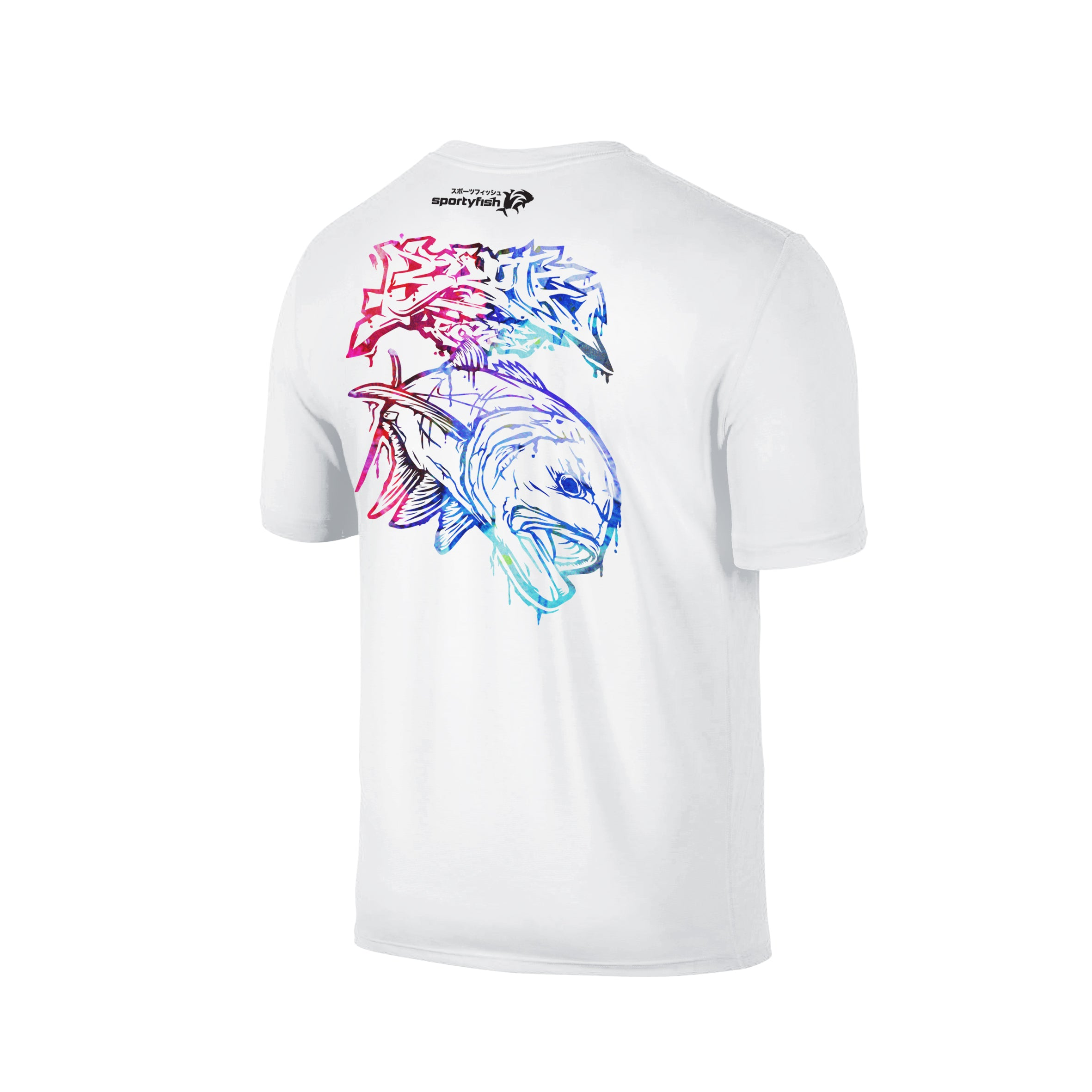 Wildstyle Graffiti Series White T-shirt(back view)Paint Splatter: Giant Trevally