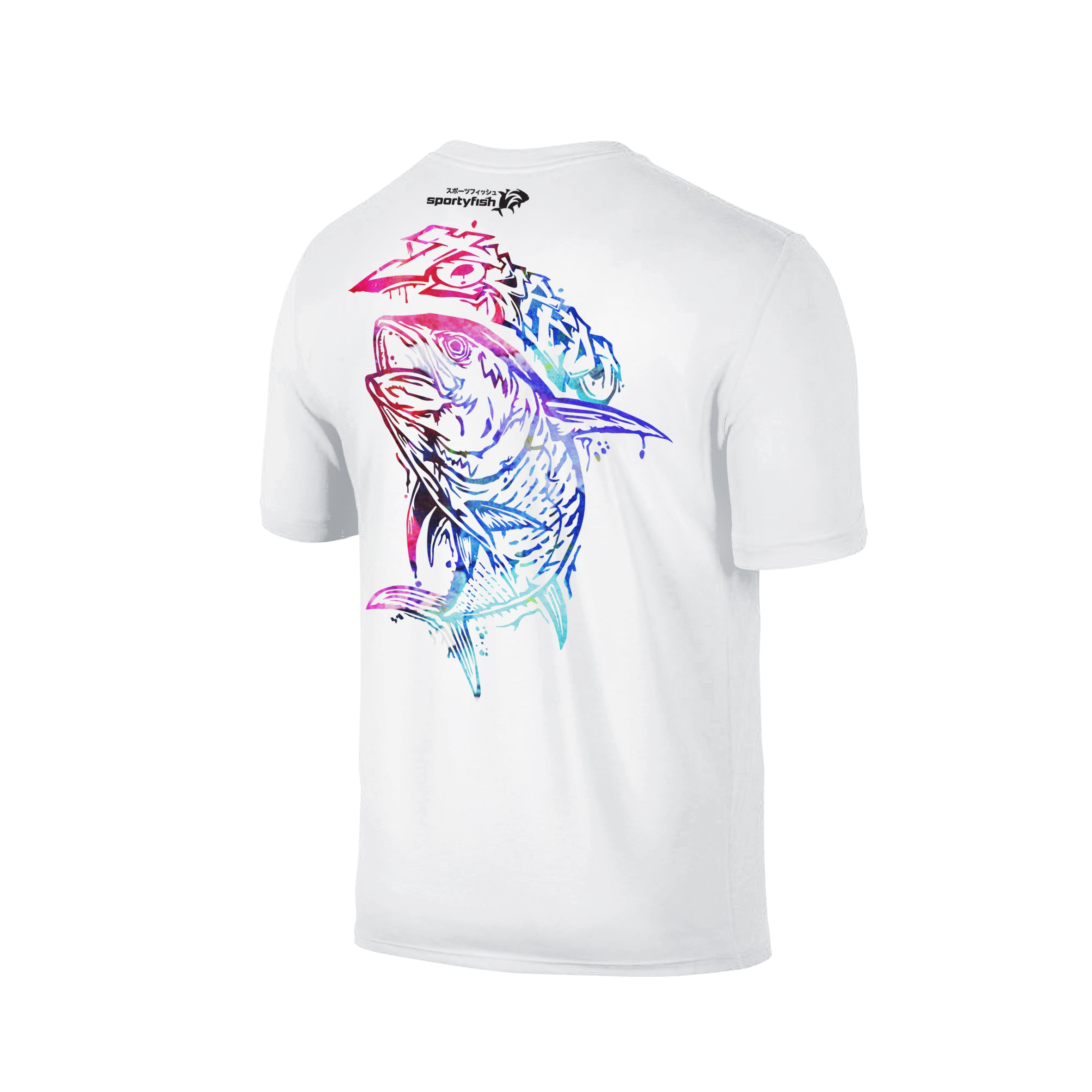 Wildstyle Graffiti Series White T-shirt(back view)Paint Splatter: Yellowfin Tuna