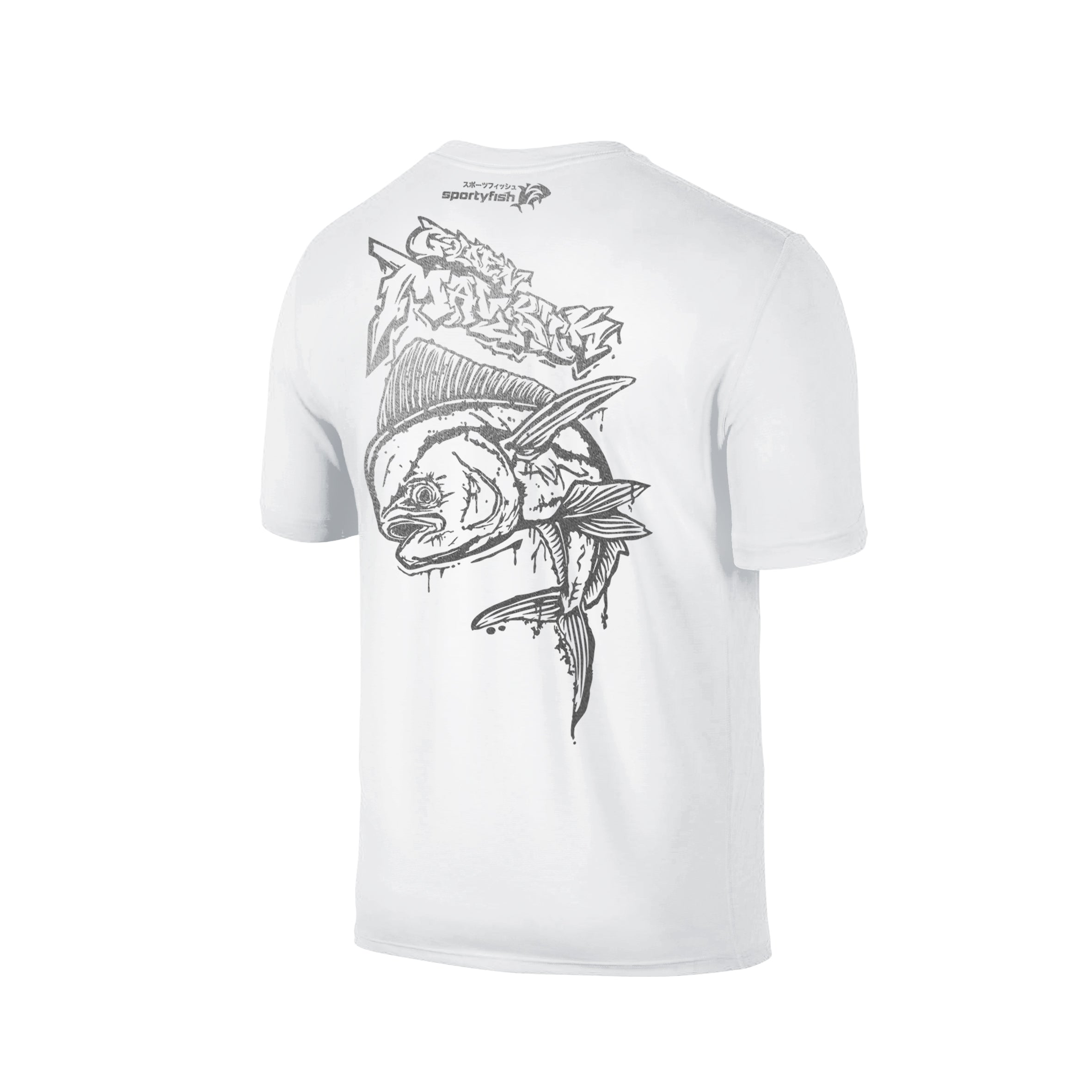 Wildstyle Graffiti Series White T-shirt(back view)Silver: Mahi-mahi