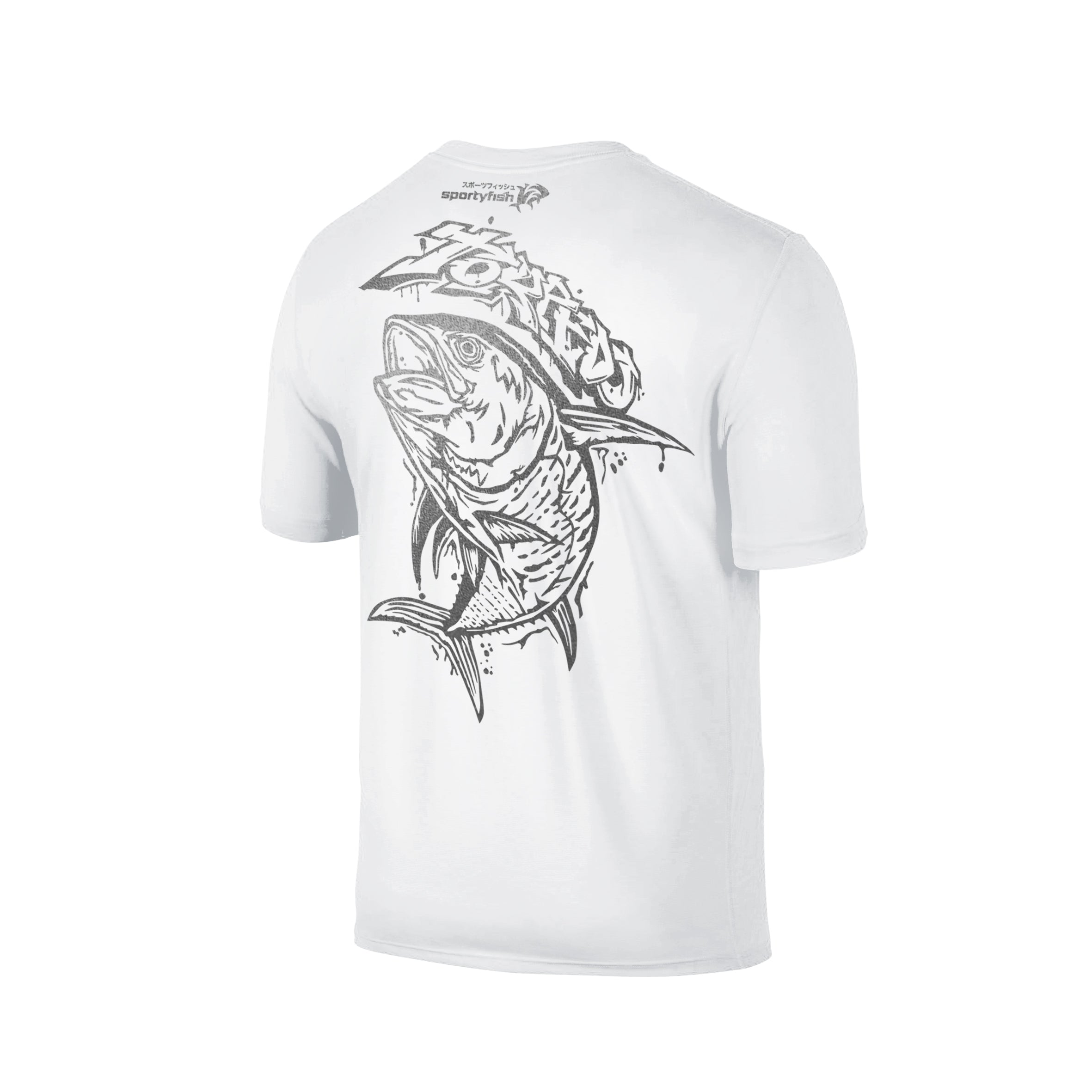 Wildstyle Graffiti Series White T-shirt(back view)Silver: Yellowfin Tuna