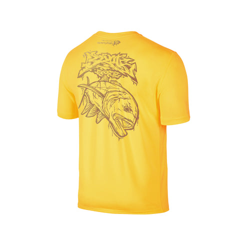 Wildstyle Graffiti Series Yellow T-shirt(back view)Gold: Giant Trevally