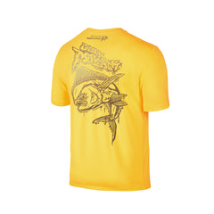Wildstyle Graffiti Series Yellow T-shirt(back view)Gold: Mahi-mahi