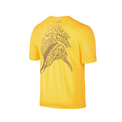 Wildstyle Graffiti Series Yellow T-shirt(back view)Gold: Atlantic Sailfish
