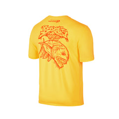 Wildstyle Graffiti Series Yellow T-shirt(back view)Neon Orange: Giant Trevally