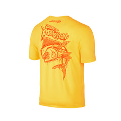 Wildstyle Graffiti Series Yellow T-shirt(back view)Neon Orange: Mahi-mahi