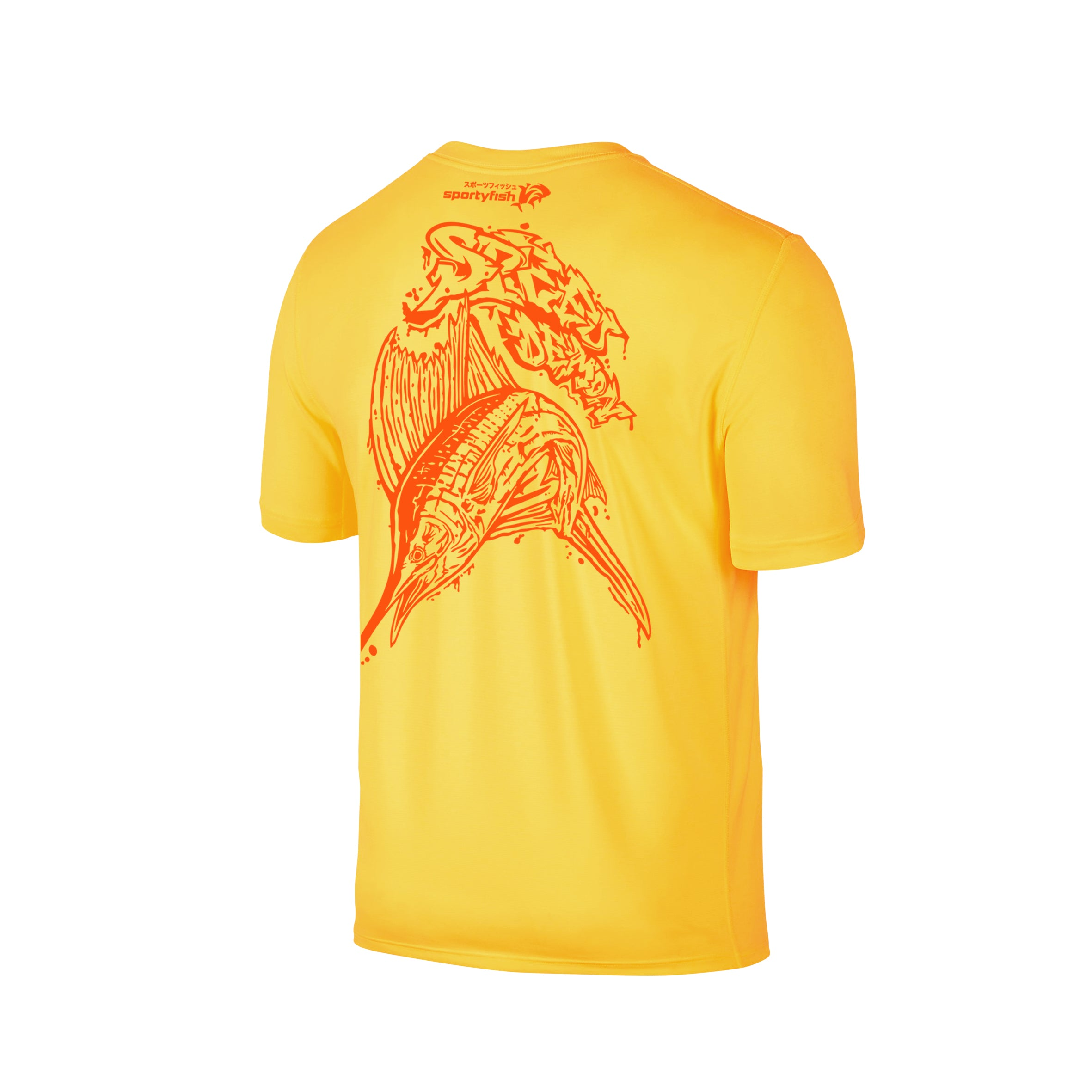 Wildstyle Graffiti Series Yellow T-shirt(back view)Neon Orange: Atlantic Sailfish